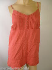 ☆ Ladies Coral Pink 100% Cotton Sleeveless Strappy Vest Tank Top UK 8 EU 36 ☆