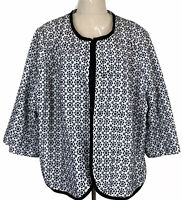 Sara Womens Black/White Floral Multiple Hook 3/4 Sleeve Lined Jacket Size 26