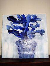 Huile sur papier marouflé sur toile oil abstract modern art painting fleur bleu