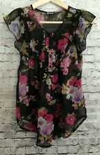 Lily White Black Floral Short Sleeve Sheer Blouse Top XS