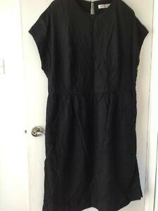 ANNE WEYBURN LADIES LINEN RICH FLARED DRESS BLACK NEW ref 406