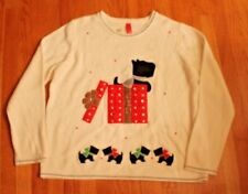 NWOT Ugly Christmas Sweater--Creme w/Appliqued Scotty Dog in Present, 2XL, Sz 20