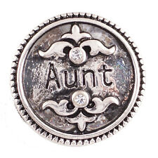 SNAP IN BUTTON CHARM FITS GINGER SNAPS STYLE JEWELRY AUNT FAMILY #48 SILVER