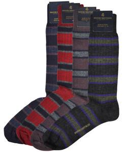 Brooks Brothers Mens 4 Pair Multicolor Stripe Wool Blend Dress Socks 7-12 8344-7