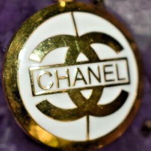 """Chanel Charm Interlocking C Gold & White Round Enamel Pendant 18"""" Necklace"""