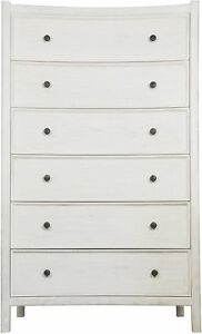 """60"""" Tall Chest Dresser Solid Mahogany Wood White Wash Finish 6 Drawers Modern"""