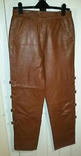 TOGETHER vintage marron en Cuir Véritable Pantalon S uk14eu40us10 Taille w29ins w74cms