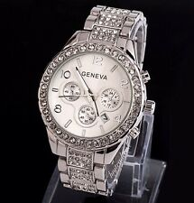 Geneva Chronograph Designer Style Ladies Womens Crystals Bling Watch + Date