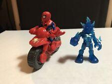 Playskool Marvel Super Hero Spiderman & Motorcycle W Rare Blue Electro Lot