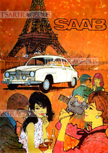 Repro Vintage Saab 96 Monte Carlo 850 1966 Advertising Poster A1 A2 A3