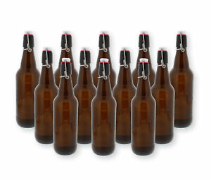 G. Francis Swing Top Bottles w/ Caps - 16.9oz, Amber Glass, Reusable - 12 pack