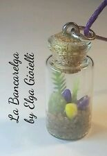 Ciondolo bottiglia vetro con mini giardino.Garden necklace bottle