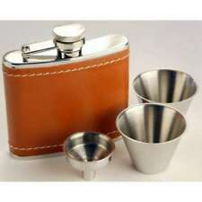 4oz Stainless Steel Tan Leather Hip Flask Gift Set