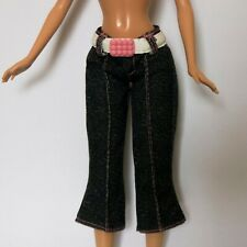 Barbie Doll Clothes Cropped Denim Jeans Trousers with White and Pink Belt