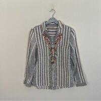 Soft Surroundings Women's Top Aruba Stripe Floral Embroiderg Size XS Isle-Style