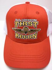 US Marines Corp 1st Recon Battalion Ball Cap, RED & White, USMC, Military, NWT