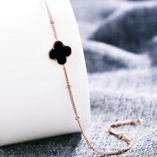 18K Rose Gold Filled Stylish Double Face Black & White Four Leaf Clover Bracelet