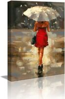 Canvas Wall Art for Living Room Bookroom Bedroom Girl with Umbrella Decor Prints