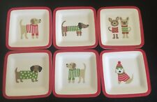 DOGS In SWEATERS 6pc Melamine SALAD APPETIZER PLATES Christmas Holiday RED NWT