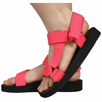 WOMENS LADIES SUMMER FABRIC STRAPS CASUAL FOAM SOLES SANDALS SHOES SIZE 3-8
