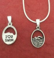 I Love 2 Swim Necklace swimmer swimming charm pendant and chain