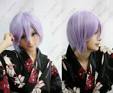 New Short Light Purple Cosplay Party Wig Fashion Straight Hair Wigs+Free Wig Cap