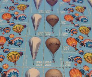 US full mint sheet of 40 Ballooning #2032-35 MNH OG fault
