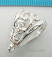1x STERLING SILVER BRIGHT FLOWER SLIDE BAIL PENDANT CLASP CONNECTOR  #1573