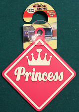 New Suction Cup Window Sign Pink Princess Tiara Humor Car Home Display Decor