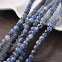 50pcs 6mm Round Natural Stone Loose Gemstone Beads Blue & White Stone