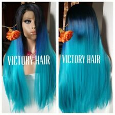 Blue Ombré Hair With Dark  Root Lace front Wig. Human Hair Blend