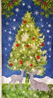 """By the Panel 23""""x 44"""" 100% cotton fabric WP Under the Pines deer tree holiday"""