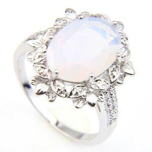Dazzling Oval Flower Rainbow Moonstone Gems Silver Rings Size 7~9 Women Gifts