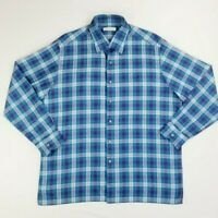 Ermenegildo Zegna Made in Italy Blue Check Long Sleeve Men's Cotton Shirt Sz 2XL