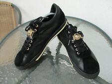 VERSACE BLACK LEATHER LACE-UP MEDUSA SNEAKERS SHOES size 43