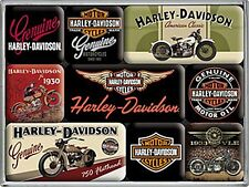 Harley Davidson Bikes set of 9 mini fridge magnets (na)