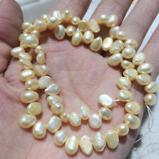 Real Natural Freshwater Pearl 6*8mm Loose Beads Strings DIY Jewelry Beige