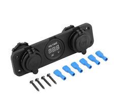 12V Dual Car Cigarette Lighter Socket USB Adapter Charger Digital Voltmeter EC