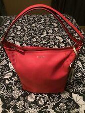 Coach 22762 Legacy Tassel Watermelon Coral Snow Leather Duffle Shoulder Bag EUC