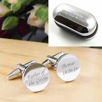 Silver Round Engraved Personalised Father of the Groom Wedding Cufflinks