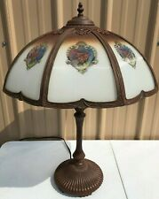Antique Art Deco Lamp w/ 8-panel Hand Painted Shade - Works Great