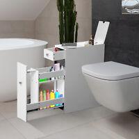 Wooden Narrow Modern Bathroom Furniture Storage Cabinet Toilet Paper Linen White