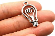 5 Lightbulb Charms Antiqued Silver Edison Pendants Be The Light Findings 31mm