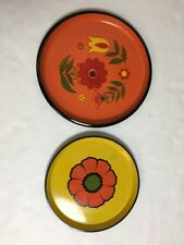 2 Vtg Ro Lo Round Serving Trays Hard Plastic Japan 70s Floral