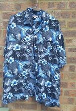 "Mens Vintage black blue hibiscus hawaiian shirt 52"""