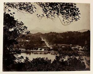 c1880 ORIGINAL albumen photograph KANDY ceylon sri lanka unusual early panorama