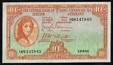F+ 1951 Central Bank of Ireland 10/- Note Ten Shillings Banknote C645