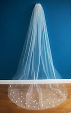 Wedding Veil *Chapel Length*1 Tier*Off white/Ivory*Floral*Bespoke*Cut Edge*