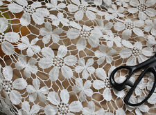 "White Milk Silk Crochet Lace Fabric Floral Lace Wedding47.2"" width 1 yard"