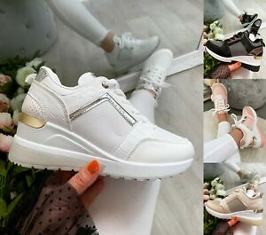 WOMENS WEDGE TRAINERS LADIES GLITTER SNEAKERS PLATFORM WOMEN SHOES SIZE UK